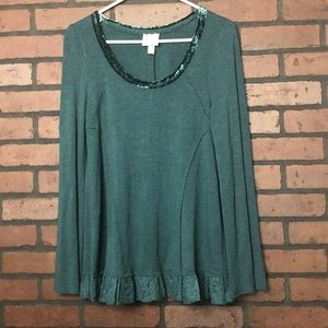 Knox Rose Womens Green Soft Knit Top